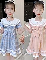 cheap -girls bows tie plaid dresses kids lace hollow lapel flare short sleeve lattice princess dress preppy style children clothings q0154