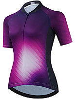cheap -21Grams Women's Short Sleeve Cycling Jersey Summer Spandex Purple Gradient Bike Top Mountain Bike MTB Road Bike Cycling Quick Dry Moisture Wicking Sports Clothing Apparel / Stretchy / Athleisure