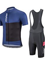 cheap -Women's Men's Short Sleeve Cycling Jersey Cycling Bib Shorts Summer Black / Blue Bike Sports Clothing Apparel / Stretchy
