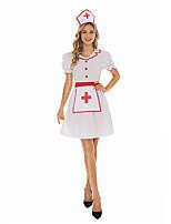 cheap -Nurse Dress Adults' Women's Halloween Halloween Halloween Festival / Holiday Terylene White Women's Easy Carnival Costumes Solid Color / Headwear
