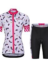 cheap -Women's Short Sleeve Cycling Padded Shorts Cycling Jersey with Bib Shorts Cycling Jersey with Shorts Summer Spandex Polyester Pink+White Black Pink / Black Geometic Funny Bike Bib Shorts Padded