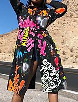 cheap -Women's A Line Dress Knee Length Dress Black Long Sleeve Abstract Letter Split Print Fall Shirt Collar Casual 2021 S M L XL XXL 3XL