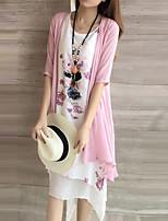 cheap -Women's A Line Dress Knee Length Dress Blue Blushing Pink Half Sleeve Floral Print Fall Summer Round Neck Casual 2021 M L XL XXL 3XL 4XL