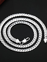 cheap -Chain Necklace Beaded Necklace Chains Women's Men's Geometrical Silver Plated Precious Fashion Rock Cool Silver 51 cm Necklace Jewelry 1pc for Christmas Wedding Street Daily Work Geometric