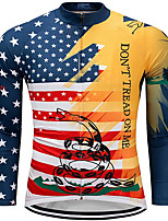 cheap -21Grams Men's Long Sleeve Cycling Jersey Spandex Polyester Blue+Yellow American / USA Snake Funny Bike Top Mountain Bike MTB Road Bike Cycling Quick Dry Moisture Wicking Breathable Sports Clothing