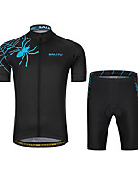 cheap -Men's Short Sleeve Cycling Padded Shorts Cycling Jersey with Bib Shorts Cycling Jersey with Shorts Summer Spandex Polyester Dark Grey Mineral Green Red and White Geometic Funny Bike Bib Shorts Padded