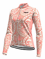 cheap -21Grams Women's Long Sleeve Cycling Jersey Spandex Pink Paisley Bike Top Mountain Bike MTB Road Bike Cycling Quick Dry Moisture Wicking Sports Clothing Apparel / Stretchy / Athleisure