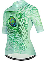 cheap -21Grams Women's Short Sleeve Cycling Jersey Summer Spandex Polyester Green Feather Funny Bike Top Mountain Bike MTB Road Bike Cycling Quick Dry Moisture Wicking Breathable Sports Clothing Apparel
