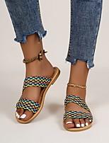 cheap -Women's Sandals Flat Heel Round Toe PU Color Block Yellow Rainbow