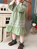 cheap -ins baby kids cotton linen princess dresses girls floral embroidery falbala dress 2021 autumn children clothing q0350