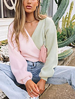cheap -Women's Cardigan Sweater Knitted Color Block Stylish Long Sleeve Lantern Sleeve Sweater Cardigans V Neck Fall Spring Green