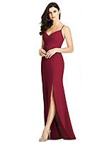 cheap -Mermaid / Trumpet Elegant Sexy Wedding Guest Formal Evening Dress V Neck Spaghetti Strap Sleeveless Floor Length Spandex with Sleek Split 2021