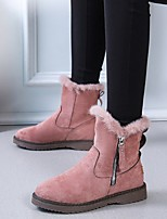 cheap -Women's Boots Round Toe Mid Calf Boots Daily Work Leather Dusty Rose Black / Mid-Calf Boots