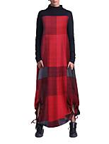 cheap -Women's A Line Dress Maxi long Dress Yellow Red Long Sleeve Plaid / Check Modern Style Fall Winter High Neck Casual 2021 S M L XL XXL XXXL