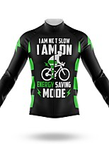cheap -21Grams Men's Long Sleeve Cycling Jersey Spandex Polyester Black Funny Bike Top Mountain Bike MTB Road Bike Cycling Quick Dry Moisture Wicking Breathable Sports Clothing Apparel / Stretchy