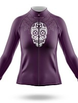 cheap -21Grams Women's Long Sleeve Cycling Jersey Spandex Polyester Purple Skull Funny Bike Top Mountain Bike MTB Road Bike Cycling Quick Dry Moisture Wicking Breathable Sports Clothing Apparel / Stretchy