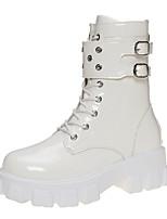 cheap -Women's Boots Chunky Heel Round Toe Rubber PU White Black