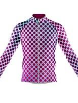 cheap -21Grams Men's Long Sleeve Cycling Jersey Spandex Purple Yellow Fuchsia Dot Bike Top Mountain Bike MTB Road Bike Cycling Quick Dry Moisture Wicking Sports Clothing Apparel / Stretchy / Athleisure