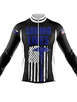 cheap -21Grams Men's Long Sleeve Cycling Jersey Spandex Polyester White Black American / USA Funny Bike Top Mountain Bike MTB Road Bike Cycling Quick Dry Moisture Wicking Breathable Sports Clothing Apparel
