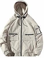 cheap -autumn bomber jackets men cargo multi-pocket hooded jacket coats fashion hip hop stand collar windbreaker streetwear beige l