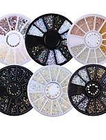 cheap -6 Box Mixed Models Shiny Nail Rhinestones 3D Nail Art Decorations In Wheel Flat Bottom Manicure Diy Nail Art Accessories