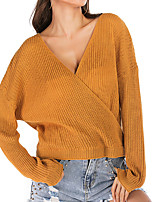 cheap -Women's Sweater Knitted Solid Color Stylish Long Sleeve Sweater Cardigans V Neck Fall Yellow