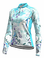 cheap -21Grams Women's Long Sleeve Cycling Jersey Spandex Polyester Blue 3D Floral Botanical Funny Bike Top Mountain Bike MTB Road Bike Cycling Quick Dry Moisture Wicking Breathable Sports Clothing Apparel