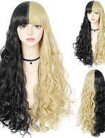 cheap -halloweencostumes Gothic  75cm Long Curly Wigs with Bangs Black and Blonde wig for Gothic Blonde Wig for Women