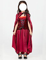 cheap -Vampire Dress Cosplay Costume Kid's Girls' Halloween Christmas Halloween Christmas Halloween Carnival Festival / Holiday Terylene Red Easy Carnival Costumes Printing / Cloak