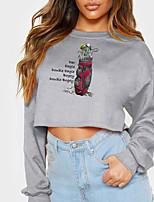 cheap -Women's Sweatshirt Crop Top Baseball Crop Top Print Casual Sports Hot Stamping Cotton Active Streetwear Hoodies Sweatshirts  Gray White