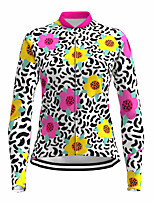 cheap -21Grams Women's Long Sleeve Cycling Jersey Spandex Polyester Rose Red Floral Botanical Funny Bike Top Mountain Bike MTB Road Bike Cycling Quick Dry Moisture Wicking Breathable Sports Clothing Apparel