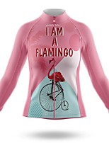 cheap -21Grams Women's Long Sleeve Cycling Jersey Spandex Polyester Pink Flamingo Funny Bike Top Mountain Bike MTB Road Bike Cycling Quick Dry Moisture Wicking Breathable Sports Clothing Apparel / Stretchy