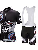 cheap -CAWANFLY Men's Short Sleeve Cycling Jersey with Bib Shorts Summer Black+White Bike Sports Geometic Mountain Bike MTB Road Bike Cycling Clothing Apparel / Micro-elastic / Athleisure / Triathlon