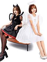 cheap -Fallen Angel Dress Adults' Women's Halloween Halloween Halloween Festival / Holiday Terylene White / Black Women's Easy Carnival Costumes Solid Color