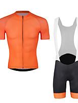 cheap -CAWANFLY Men's Short Sleeve Cycling Jersey with Bib Shorts Summer Black / Orange Bike Sports Geometic Mountain Bike MTB Road Bike Cycling Clothing Apparel / Micro-elastic / Athleisure / Triathlon