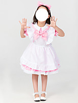 cheap -Maid Costume Dress Cosplay Costume Kid's Girls' Cosplay Lolita Halloween Halloween Christmas Halloween Children's Day Festival / Holiday Terylene Pink Easy Carnival Costumes Solid Color / Bow / Apron