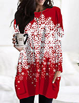 cheap -Women's Shift Dress Short Mini Dress Black Red Long Sleeve Print Plaid Pocket Print Fall Winter Round Neck Casual Christmas Holiday 2021 S M L XL XXL 3XL
