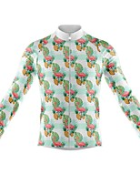 cheap -21Grams Men's Long Sleeve Cycling Jersey Spandex Polyester Green Flamingo Leaf Funny Bike Top Mountain Bike MTB Road Bike Cycling Quick Dry Moisture Wicking Breathable Sports Clothing Apparel
