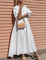 cheap -Women's A Line Dress Maxi long Dress White Black Half Sleeve Solid Color Ruffle Button Fall Round Neck Casual Lantern Sleeve 2021 S M L XL XXL 3XL 4XL 5XL