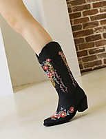 cheap -Women's Boots Cuban Heel Square Toe Mid Calf Boots PU Floral Light Yellow Almond Black / Mid-Calf Boots
