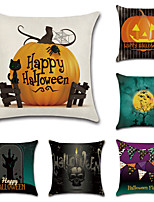 cheap -Halloween Double Side Cushion Cover 6PC Soft Decorative Square Throw Pillow Cover Cushion Case Pillowcase for Bedroom Livingroom Superior Quality Machine Washable Indoor Cushion for Sofa Couch Bed Chair Bat Pumpkin Grave