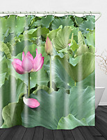 cheap -Pond lotus Print Waterproof Fabric Shower Curtain for Bathroom Home Decor Covered Bathtub Curtains Liner Includes with Hooks