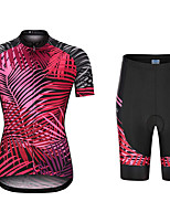 cheap -21Grams Women's Short Sleeve Cycling Jersey with Shorts Summer Spandex Polyester Red Leaf Funny Bike Clothing Suit 3D Pad Quick Dry Moisture Wicking Breathable Back Pocket Sports Patterned Mountain