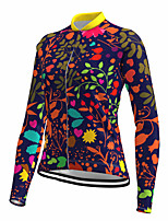 cheap -21Grams Women's Long Sleeve Cycling Jersey Spandex Purple Floral Botanical Bike Top Mountain Bike MTB Road Bike Cycling Quick Dry Moisture Wicking Sports Clothing Apparel / Stretchy / Athleisure