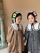 cheap -autumn girls floral printed dress kids flowers embroidery patchwork color lapel pleated dresses sweet children princess clothes q0601