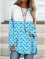 cheap -Women's T shirt Color Block Long Sleeve Patchwork Print Round Neck Basic Tops Cotton Blue Wine Fuchsia