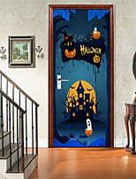 cheap -Halloween 2pcs Self-adhesive Horror Door Stickers For Living Room Diy Decoration Home Waterproof Wall Stickers 77x200cm