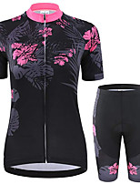 cheap -21Grams Women's Short Sleeve Cycling Jersey with Shorts Summer Spandex Black Floral Botanical Bike Quick Dry Moisture Wicking Sports Patterned Mountain Bike MTB Road Bike Cycling Clothing Apparel