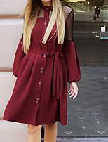 cheap -Women's A Line Dress Short Mini Dress Wine Khaki Red Navy Blue Long Sleeve Solid Color Lace up Fall Turtleneck Casual 2021 S M L XL XXL