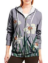 cheap -Women's Hoodie Zip Up Hoodie Sweatshirt Floral Graphic Prints Zipper Print Sports Holiday 3D Print Active Streetwear Hoodies Sweatshirts  Gray